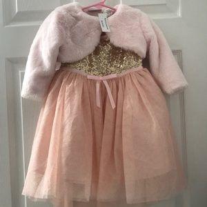 Girls fur jacket and dress